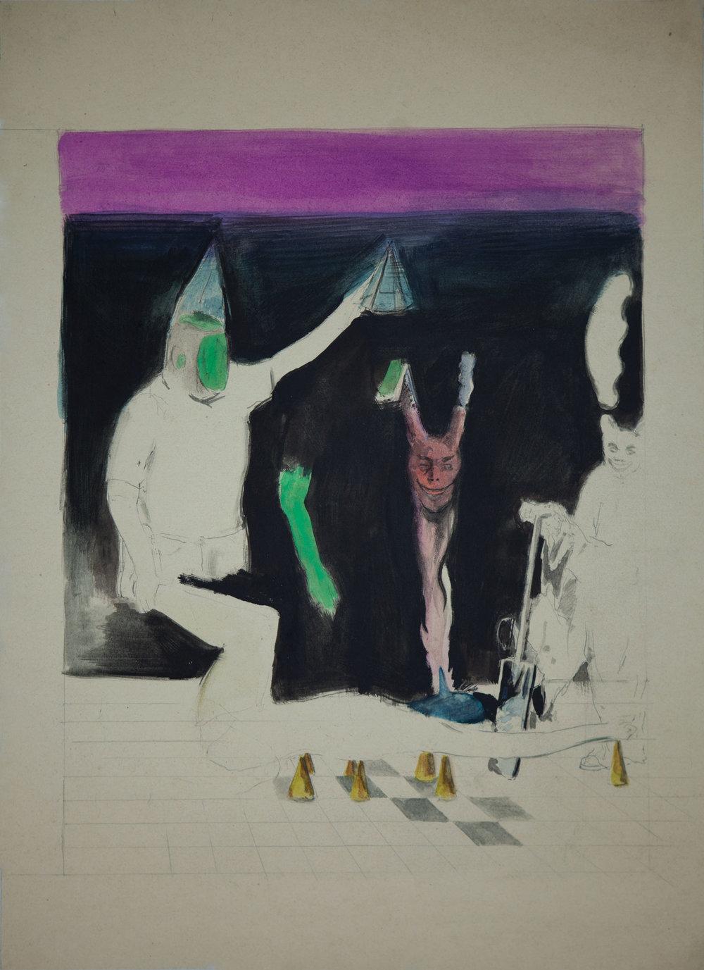 MIKOŁAJ MAŁEK  O.T., 2018 Gouache on paper, 45,7 x 33,3 cm