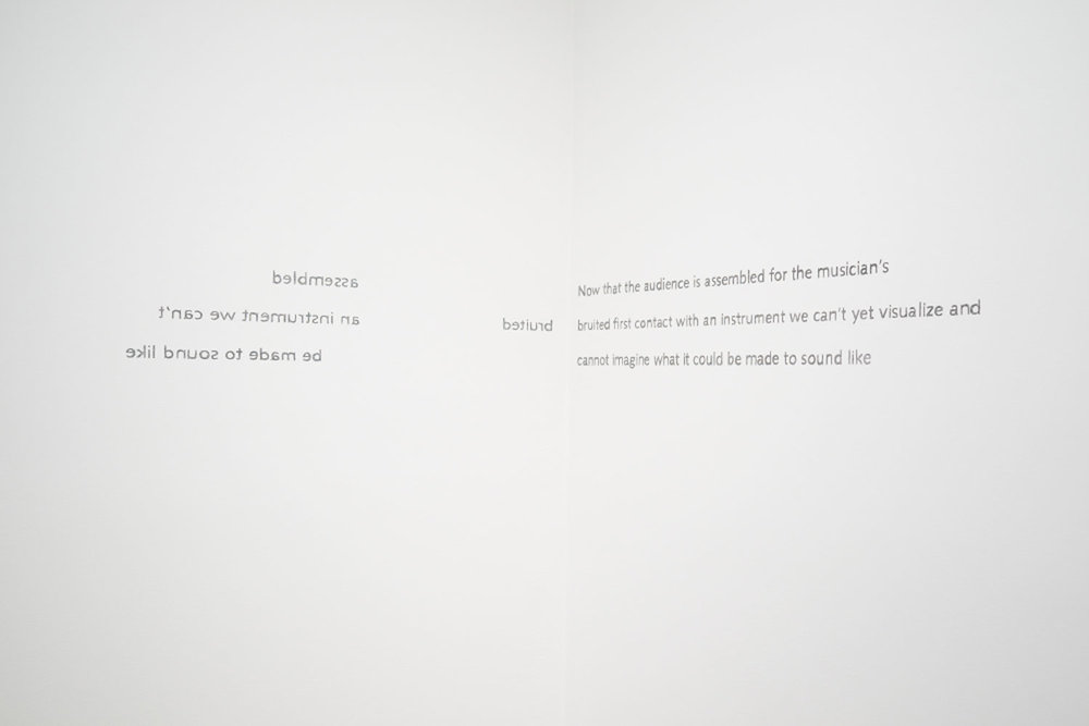 """DAVID GRUBBS DETAIL ONE POEM, 2014 Wall painting / Wandmalerei, Exhibition view """"Open Tunings"""", MIT List Visual Arts Center, Boston Courtesy Christine König Galerie, Vienna / Wien and the artist / und der Künstler"""