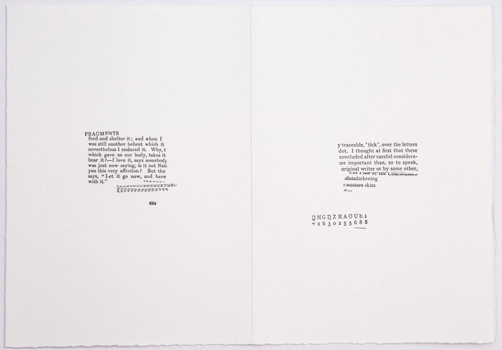 SUSAN HOWE  from the series / aus der Serie CONCORDANCE, 2018 Typewriter on hand-made paper / Schreibmaschine auf Büttenpapier Courtesy Christine König Galerie, Vienna / Wien and the artist / und die Künstlerin