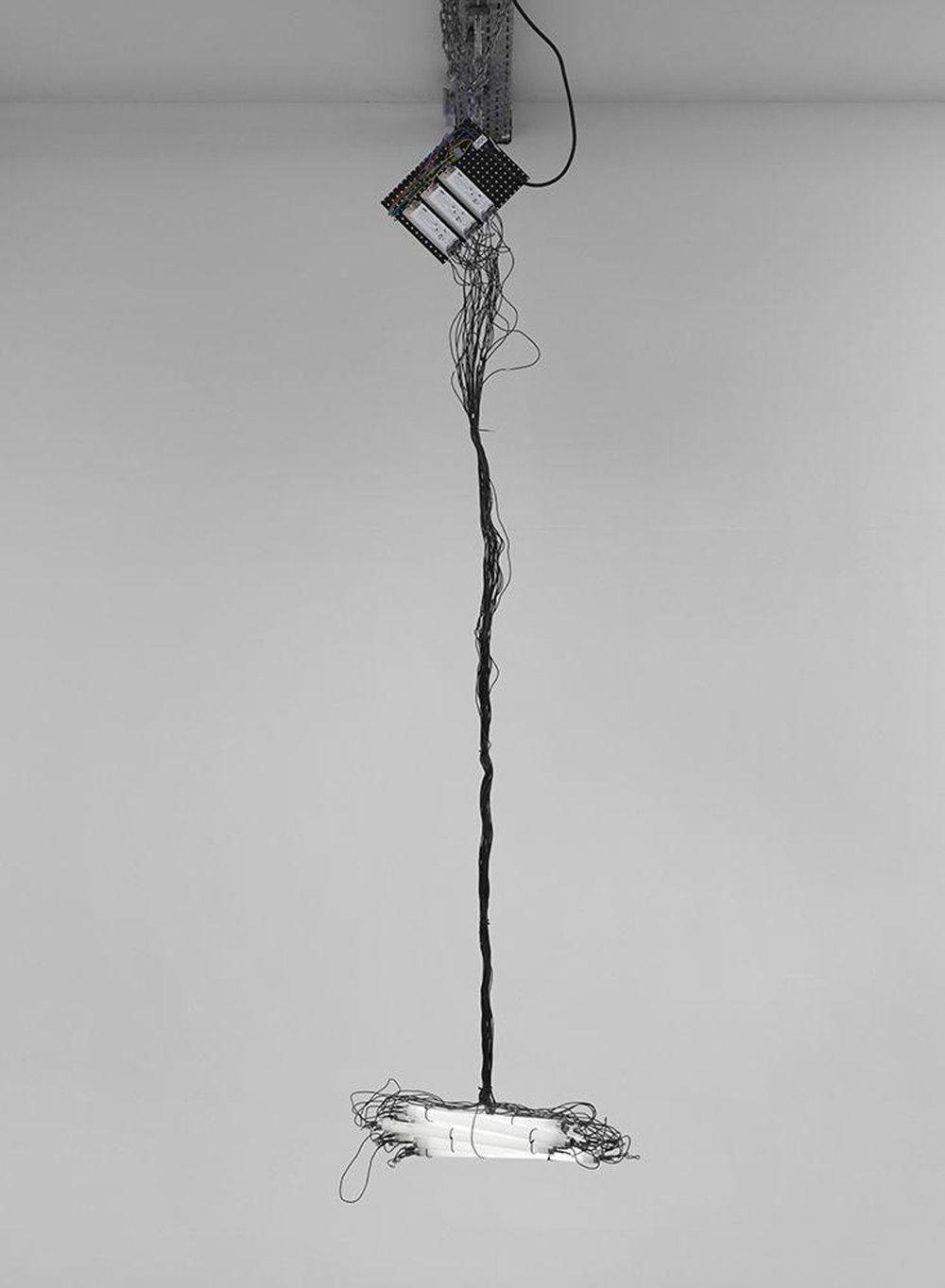 MONICA BONVICINI  KLEINE LICHTKANONE, 2009 10 fluorescent lights, tie wraps Courtesy König Galerie, Berlin