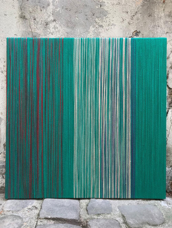 SHEILA HICKS  AFFÉRENT, 2018 Linen, wood / Leinen, Holz, 100 x 100 cm  Photo: Cristobal Zanartu