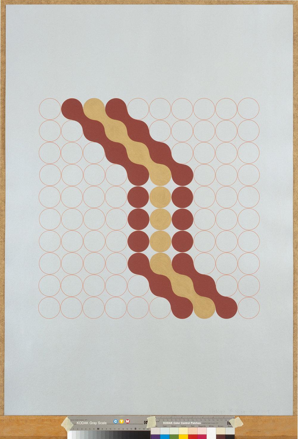 HELGA PHILIPP  OHNE TITEL (D17), 1970 Gouache auf Siebdruck, 100 x 70 cm  Photo: Nachlass Helga Philipp