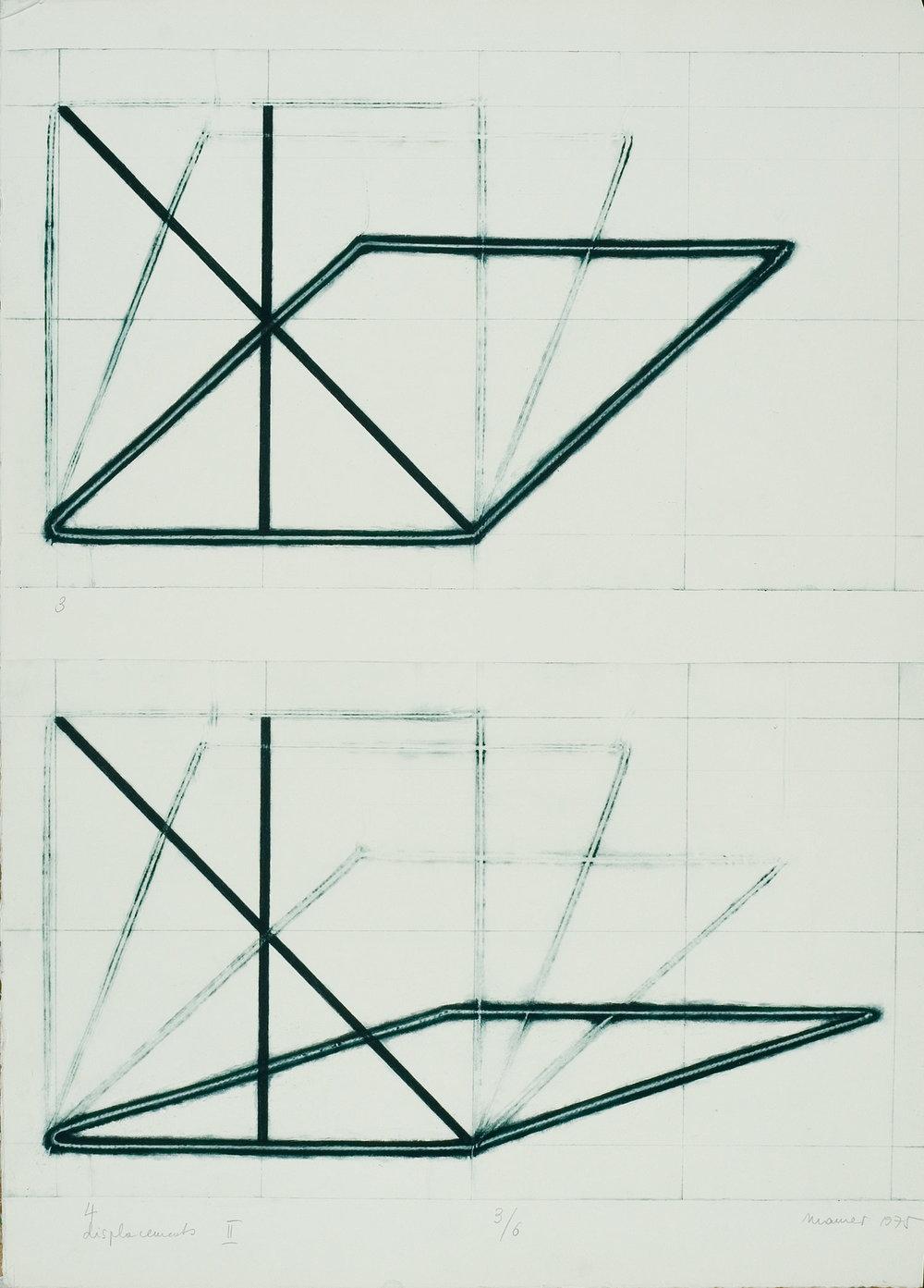 DÓRA MAURER  VERSCHIEBUNG II. 1–4, Detail 1-2, 1974 Kombination von Tief- und Prägedruck, 2 Bogen, Zerkal-Büttenpapier, je 50 x 70 cm  Photo: Miklós Sulyok, Budapest