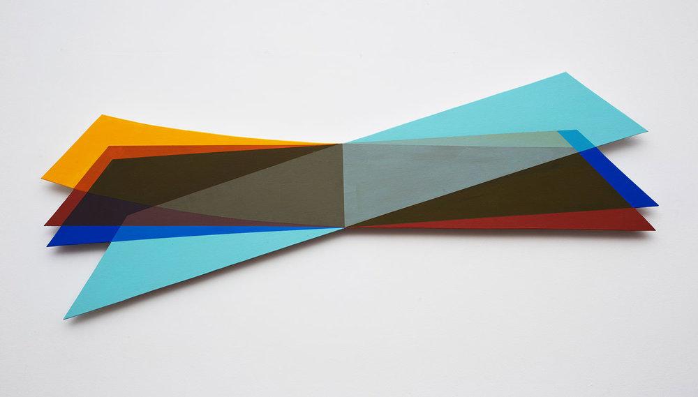 DÓRA MAURER  QUADRICINIA 2, 2015 Holz, Leinen, Acryl, 40,5 x 124,5 cm  Photo: Miklós Sulyok, Budapest