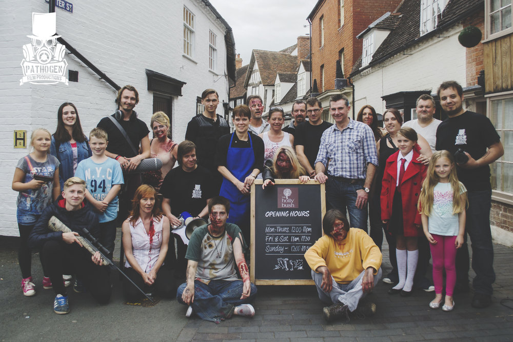 Cast, Crew, supporting Artists & the owners of The Holly Bush, Alcester.