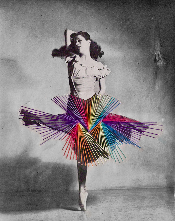 Dance, n.d.  Embroidery on vintage photograph, Unique // Sold