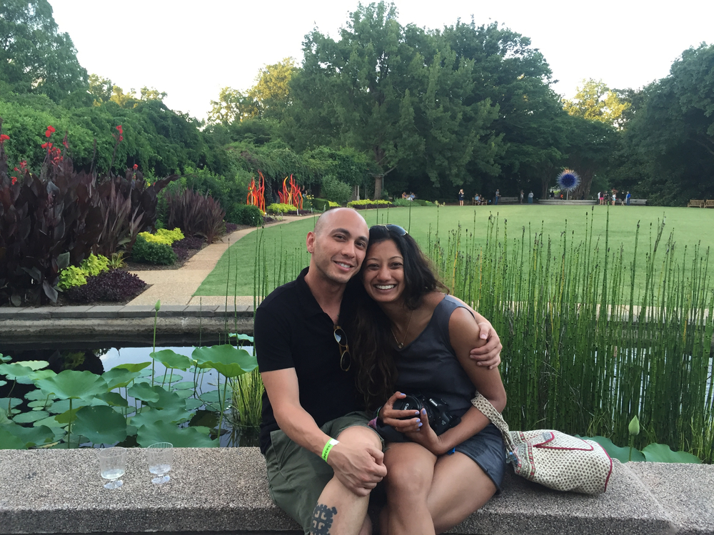 S: Chihuly in the park. Our first date. I was nervous. I texted this photo to my sister and her first comment was on my blissful smile.  L: