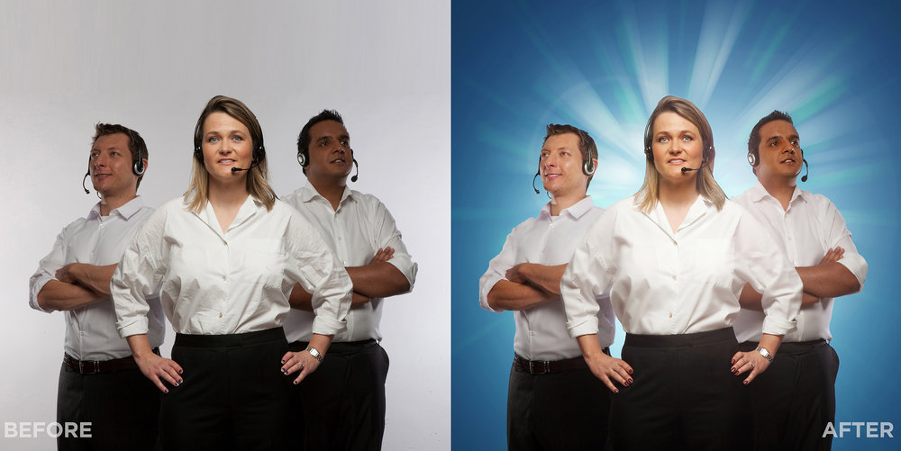 Satmetrix Xperience Photoshoot: Part of our Xperience campaign was to shoot the Satmetrix staff and place them onto a variety of coloured backgrounds. The retouch involved blemish removal and subtle smoothing of the skin, tidying of hair and nail varnish and 'ironing' the shirts. We then adjusted curves to balance out the tones of the shot and added a sunburst and lens flare.