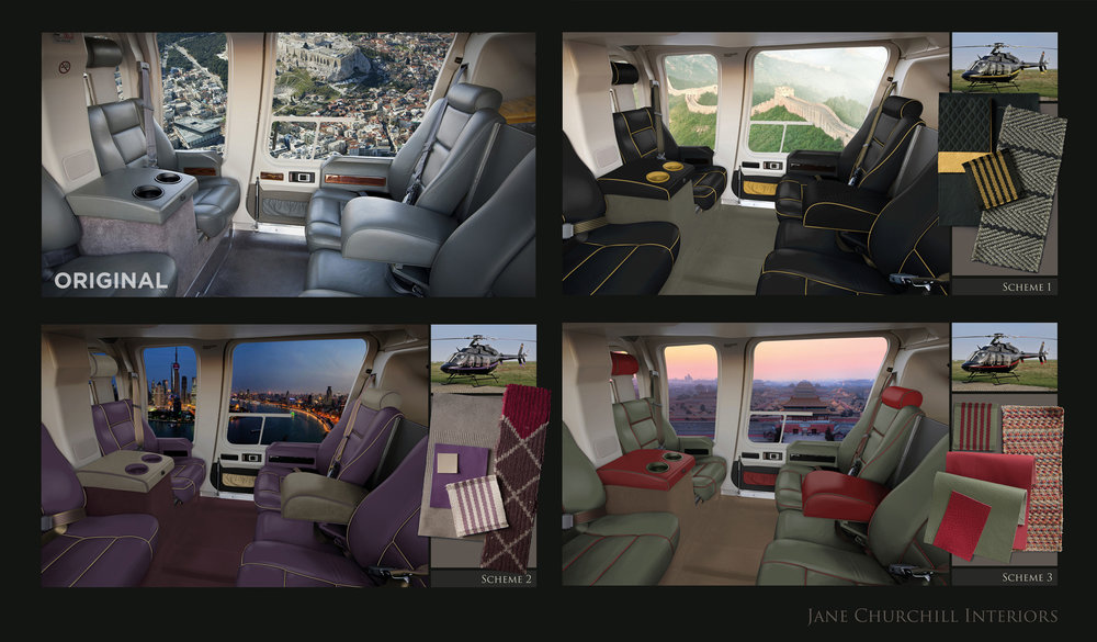 Jane Churchill Interiors: Extensive retouching of helicopter interior to create sample boards for the upholstery options. Every component in the shot was isolated onto separate layers, from the seat belts and cup holders, to the walnut panelling and piping on the seats. This allowed for complete control of recolouring and overlaying the fabric textures onto the seats. Additional highlights and shadows were the final step to creating the visuals.