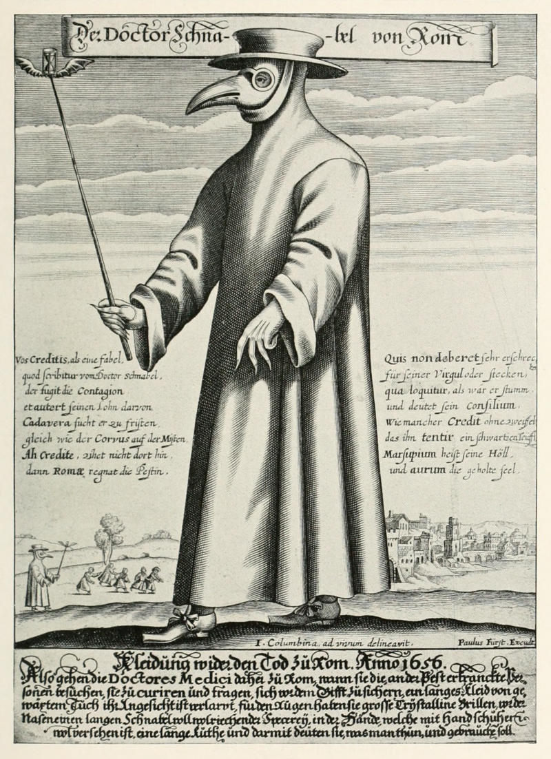 Paul Fürst, engraving of a plague doctor of Marseilles (1721)