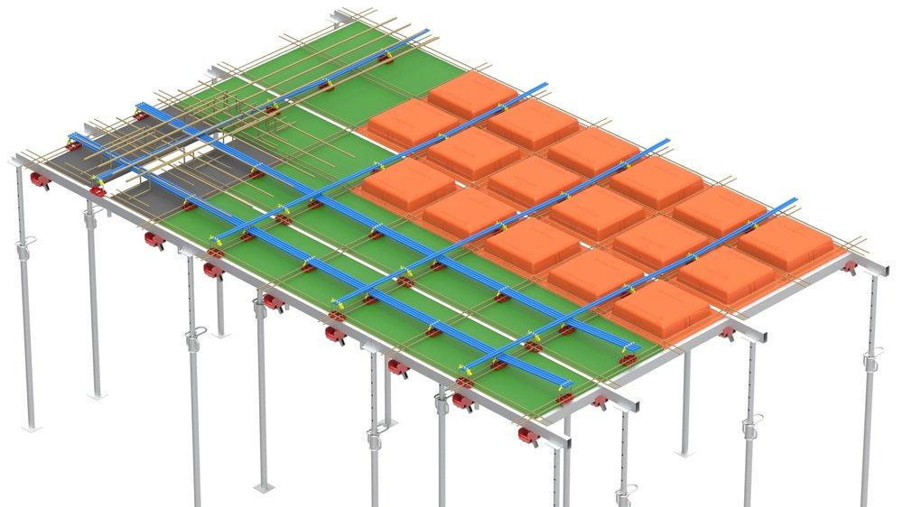 Visão tridimensional do Sistema Pavplus. Em laranja estão as fôrmas plásticas 61 cm X 61 cm, em verde o Plasterit 61 cm X 61 cm e em preto o Maderit para Fôrma do Pilar.