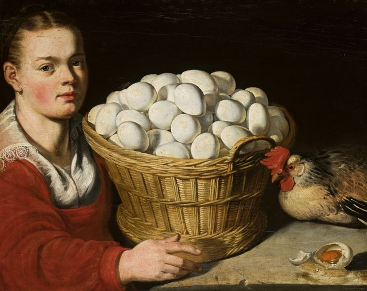 Girl with a Basket of Eggs (artist unknown) from the collection of the National Museum in Warsaw.
