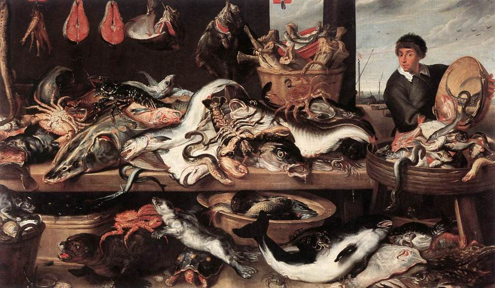 Above:   Fishmonger's   by Frans Snyders, 1579-1657. From the collection of the Royal Museum of Fine Arts Antwerp