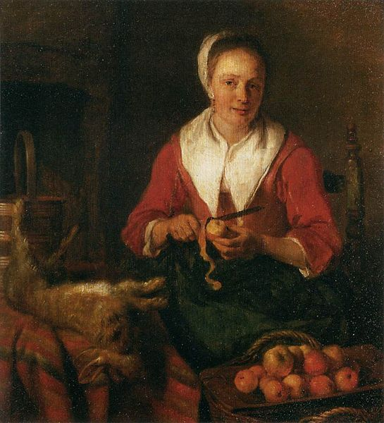 Woman Peeling Apples (Gabriel Metsu, 1629-1667). From the collection of the Louvre Museum.