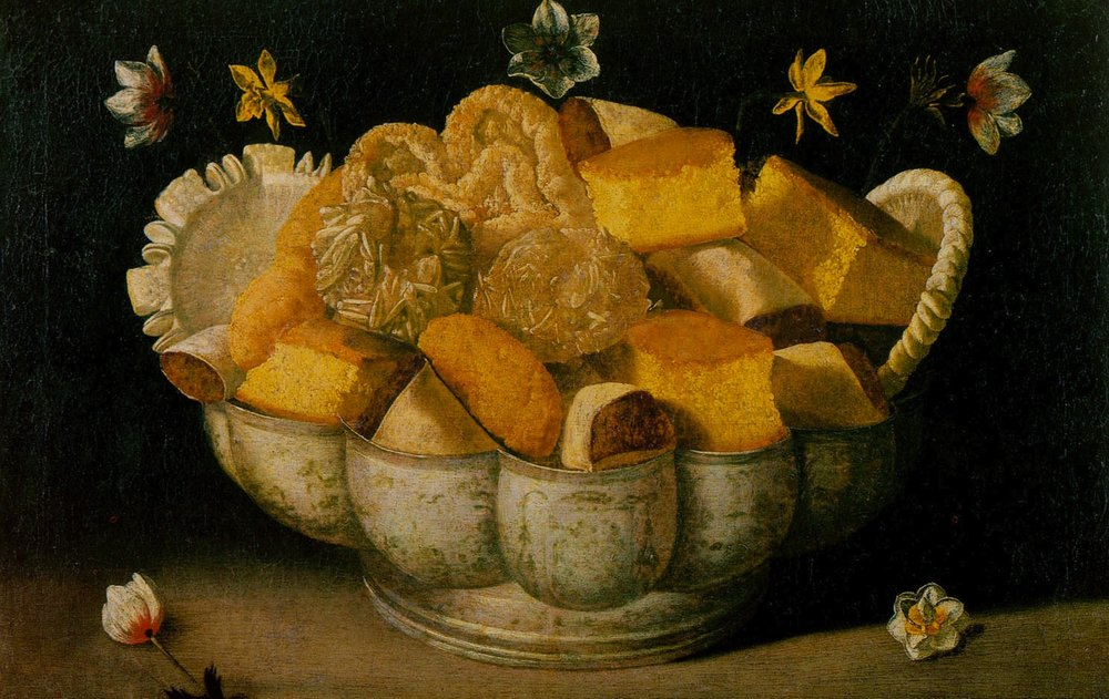 Above: Detail from Josefa de Ayala's  Still life with cakes , c. 1660-1670. From the collection of the Museu de Évora.