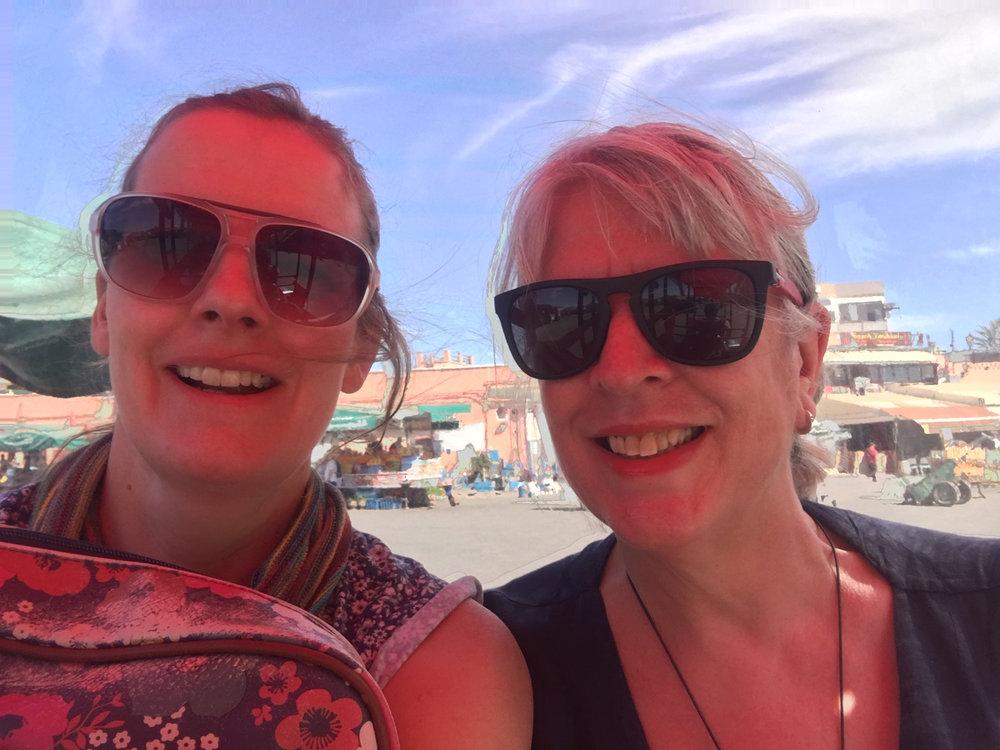 Lara & Tessa in a Petit Taxi in Marrakech