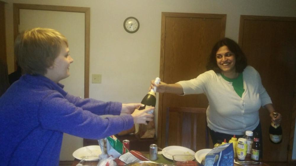 Congratulatory champagne!