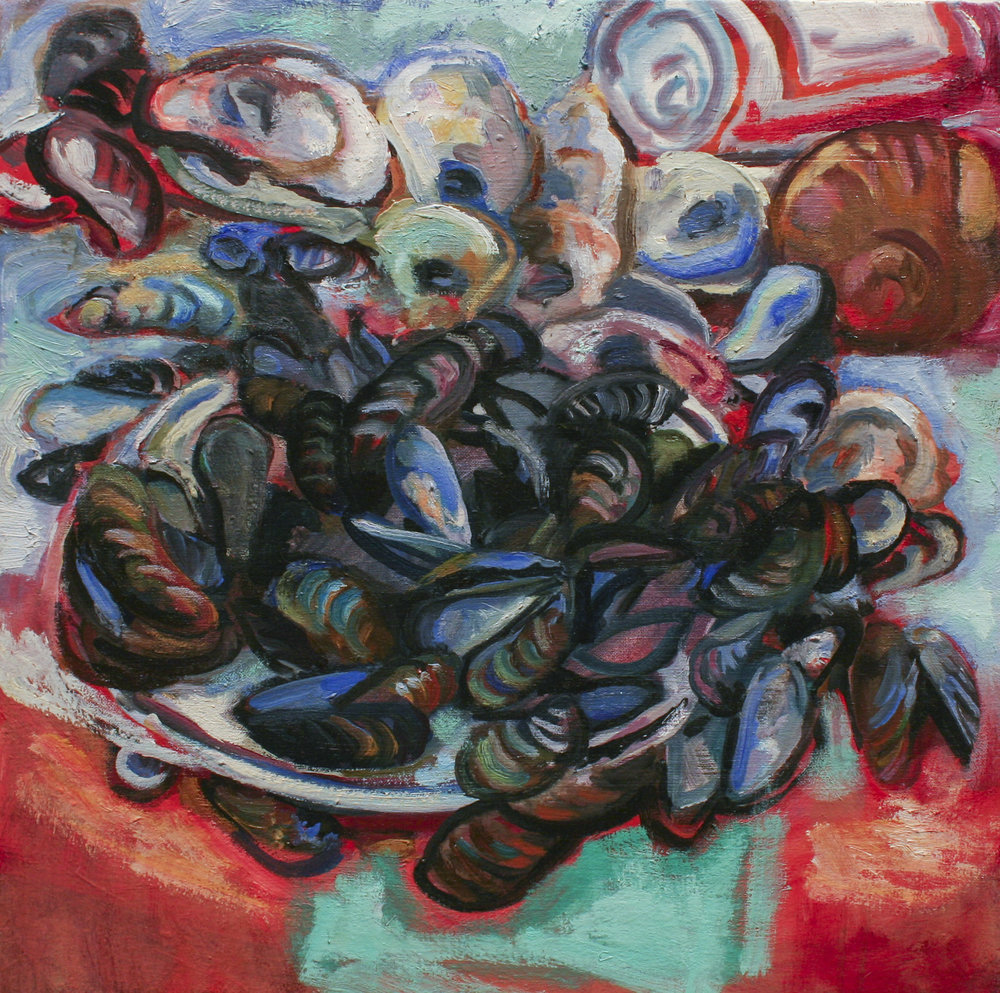 "Bruce Lieberman, Mussels, 16"" x 16"", 2017, Oil on canvas"