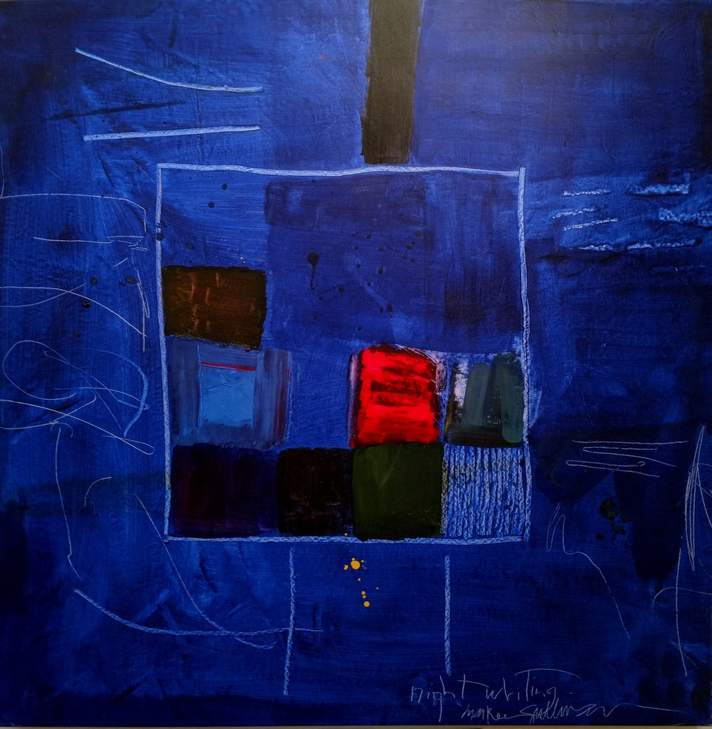 """night writing . 51""""x51"""". Water soluble oil on canvas."""