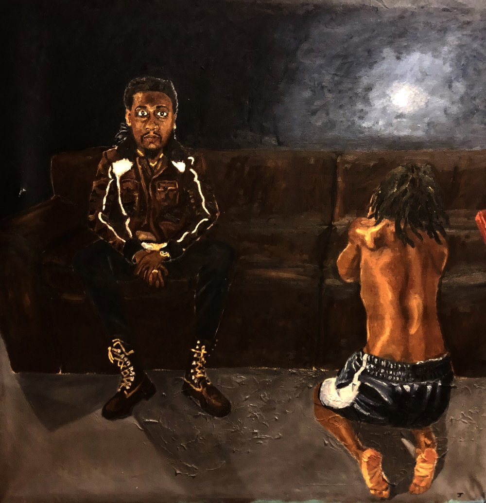 """""""Death to self"""" (Two Jerrell's)  47 1/2"""" x 46 1/2""""  Oil on canvas  2018"""