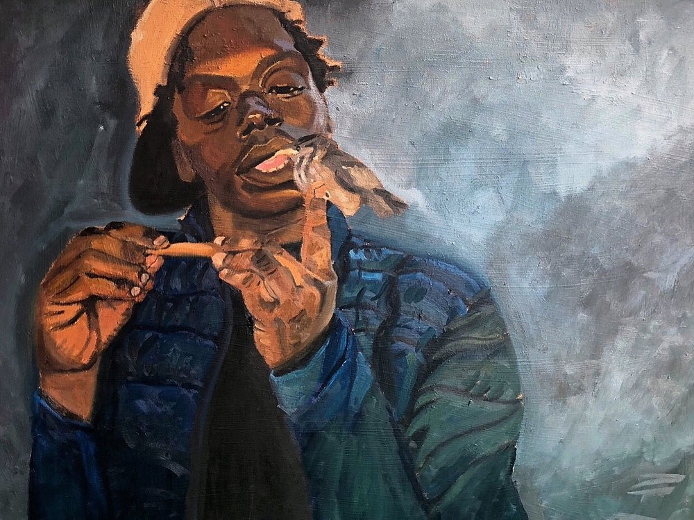 "The bird whisperer (El sussurador de pajaros)  40"" x 30""  Oil on canvas  2018.  Private Collection"