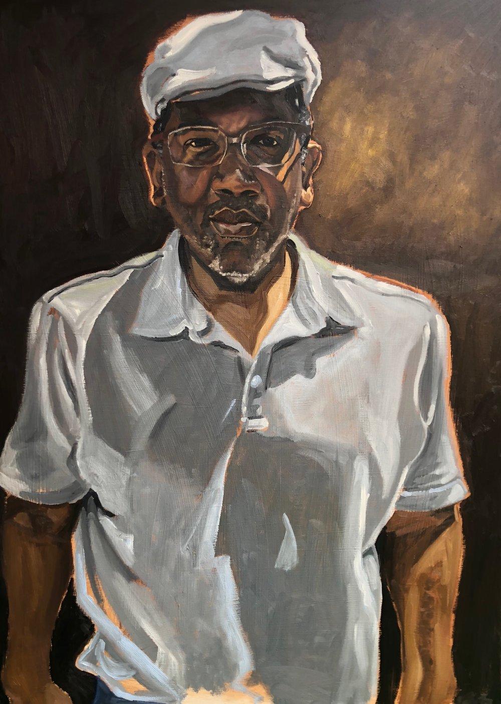 "El Maestro, Paul Rucker  Oil on canvas  48"" x 36""  2018.  Private Collection"