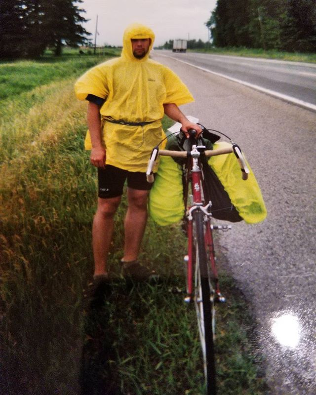 @hiker_katherine wants us to share our funniest outdoor look! Here is me in 2005 on a bike tour.  I couldn't afford a proper rain jacket so I had this poncho and some cord to hold it down instead. I was very wet and cold in this photo! . . . . #camping #outdoors  #adventure #explore #wilderness #exploremore #camp #lifeofadventure #greatoutdoors #neverstopexploring #takelessdomore #seekthetrails #wildernessculture #optoutside #getoutside #exploreeverything #nature #everytrailconnects #adventureculture #biketouring
