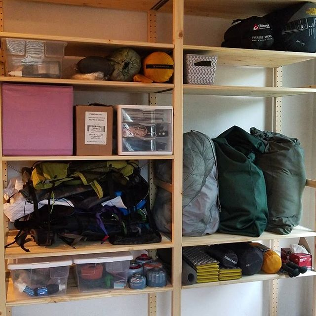 Finally organized my gear on to some nice shelves! @zpacks @pariaoutdoorproducts @bigagnes_ @santefebeancompany @natgeo @lawsonequipment @nitecoreflashlight @blackdiamond @deeringknives @mountainlaureldesigns @superior.wilderness.designs @superstitiongear @ospreypacks @gregorypacks @rei @klymit @katadyn_group @sawyerproducts @smartwater @lifewtr @hydrapak @platypushydration @toaksoutdoor @soto.outdoors @jetboil @primus.us @colemanusa @seatosummitgear @thenorthface @keltybuilt @nunatak_gear @enlightenedequipment @gossamergear @thermarest  Ok I think I tagged em all 🤣