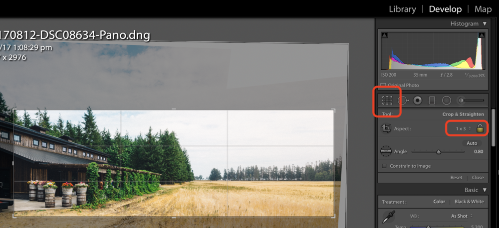 Cropping the Image in 1x3 ratio in Lightroom