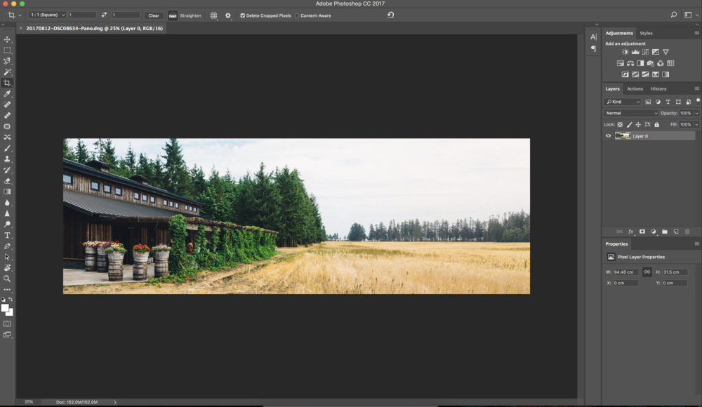 Open your 1x3 Banner Image in Photoshop