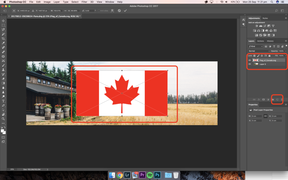 Add New Layer and then Add the Country's Flag in Photoshop