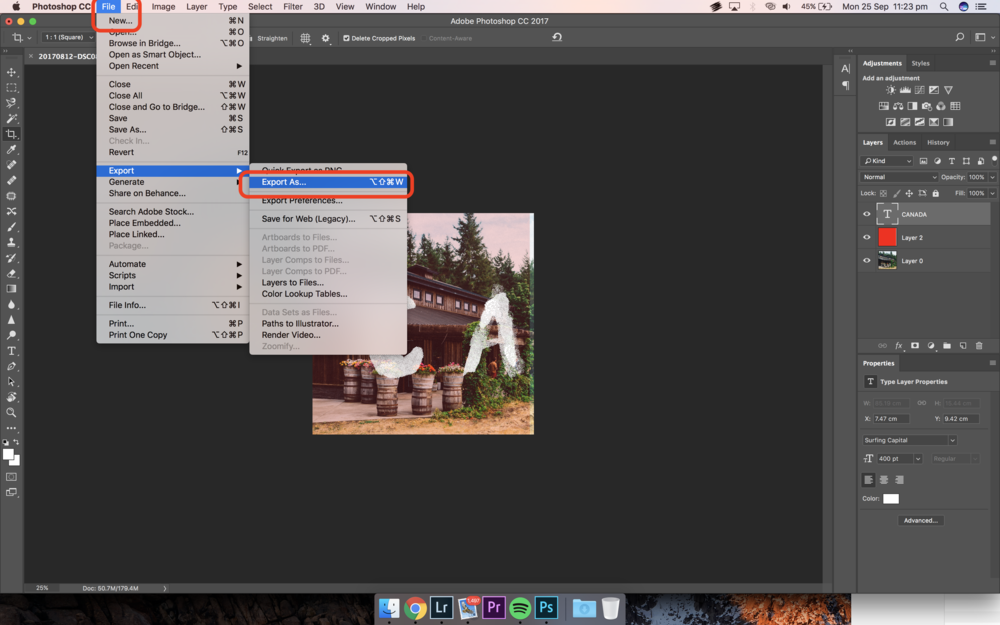 Exporting Your Banner Images from Photoshop to JPEG to Instagram