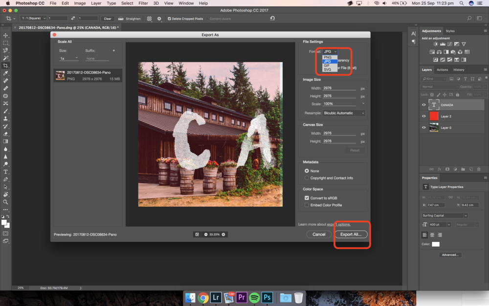 Export Settings from Photoshop to JPEG