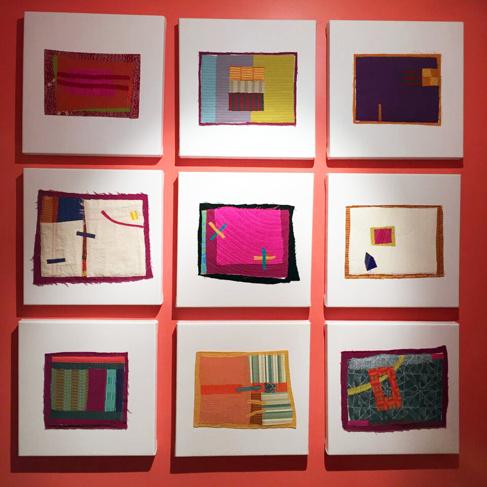 Nine of the quilted drawings mounted on stretched linen and exhibited together as  Yesterday, Today, Tomorrow.  Each is 17 inches square.
