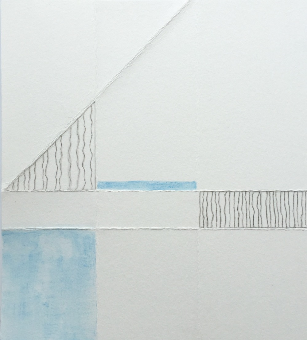 Becalmed. folded drawing with watercolor pencil and graphite. 8 x 9 inches. 2016. Karen Anne Glick