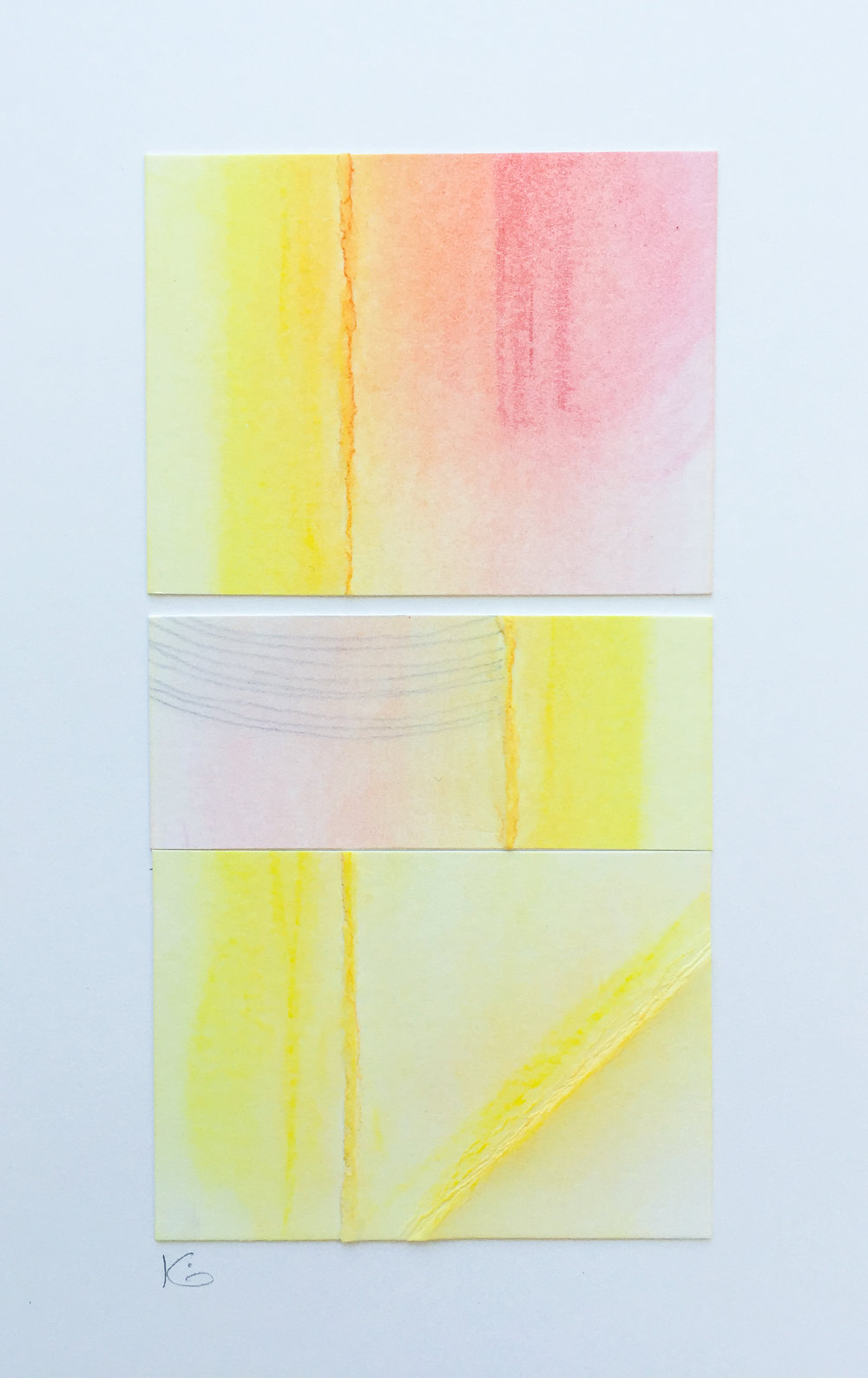 Sunrise.  Collaged folded bristol, pastels, pencil. 2.25 x 4.5 inches on 9 x 12 inch bristol. 2016. Karen Anne Glick