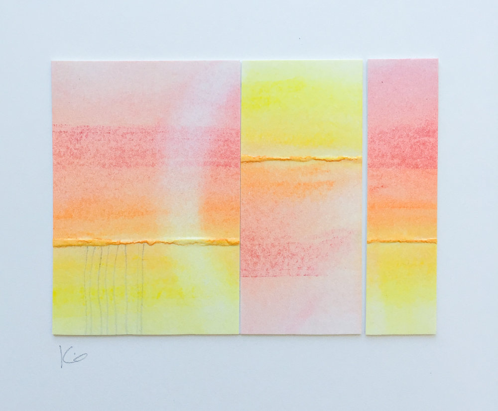 Sunset.  Collaged folded bristol, pastels, pencil. 3.25 x 2.25 inches on 9 x 12 inch bristol. 2016. Karen Anne Glick