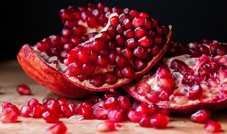 Pomegranates - When opened looks like an ovary full of eggs, and will increase blood flow.