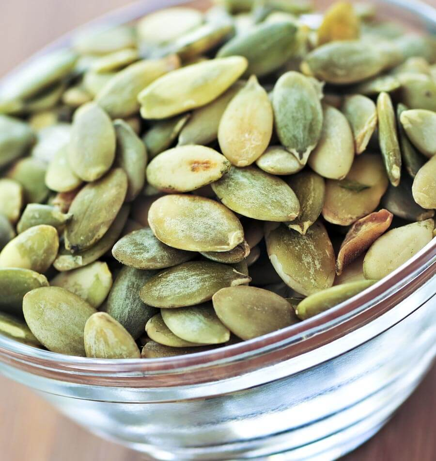 Pumpkin Seeds - Rich in zinc, pumpkin seeds support sperm production. They contain the amino acid tryptophan, which supports production of serotonin in the brain. Another to sprinkle over salads.