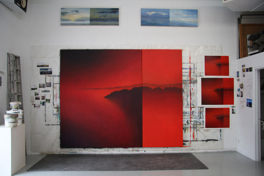 "At the studio: Epoch Federal Reserve,  diptych, 96""X120"", oil on canvas"
