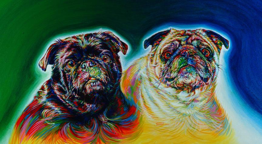 """Doggies,  30""""x24"""", acrylic"""