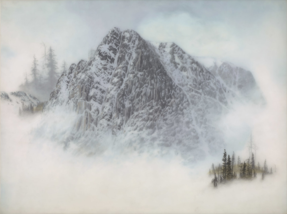"Mountain with Small Scaffolding, Brooks S.; 36""x48"", graphite, color pencil and ink"