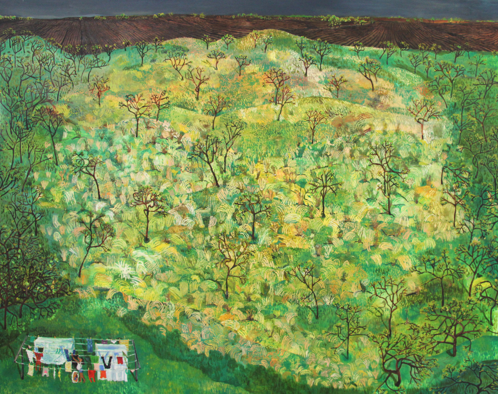 "May, Sophia H.;  48""x60"", string, cut-up socks, tree seeds, oil on canvas"