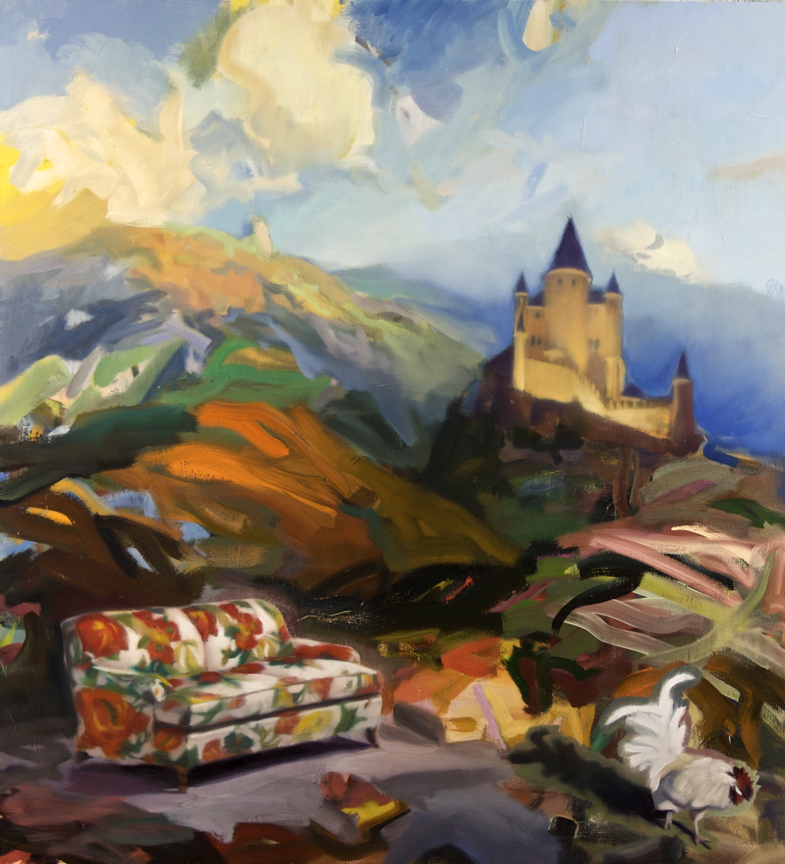 "Fairy Tale in the Key of C (Castle, Couch &  Cock), Jeffrey B.;  50""x46"", oil on canvas"