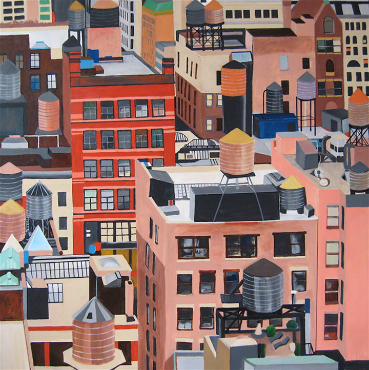 "NYC Water tanks, 48""X48"", acrylic on canvas by CoCo Artist, Toni S."