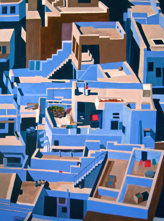 "Jodhpur, India,  36""X48"", acrylic on canvas by Toni S."