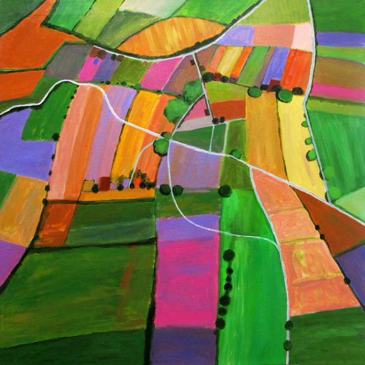 "Open Field Cultivation, 30""x30"", acrylic on canvas by CoCo Artist Toni S."