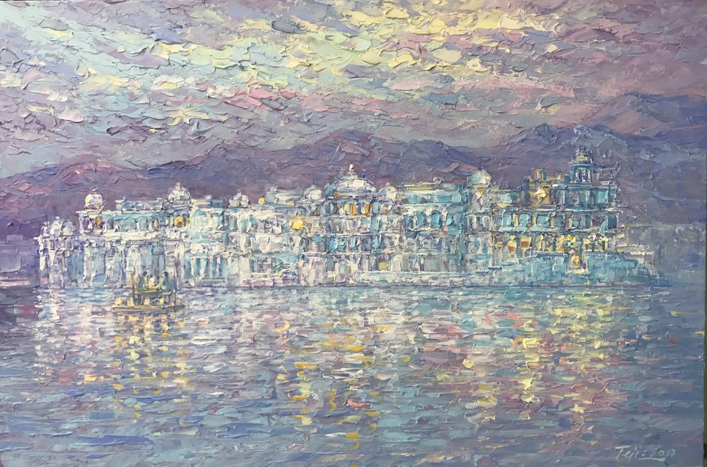 "The ""Taj Lake Palace"" commission: conceived by Shilpa, brought to life by CoCo Artist Teji K."