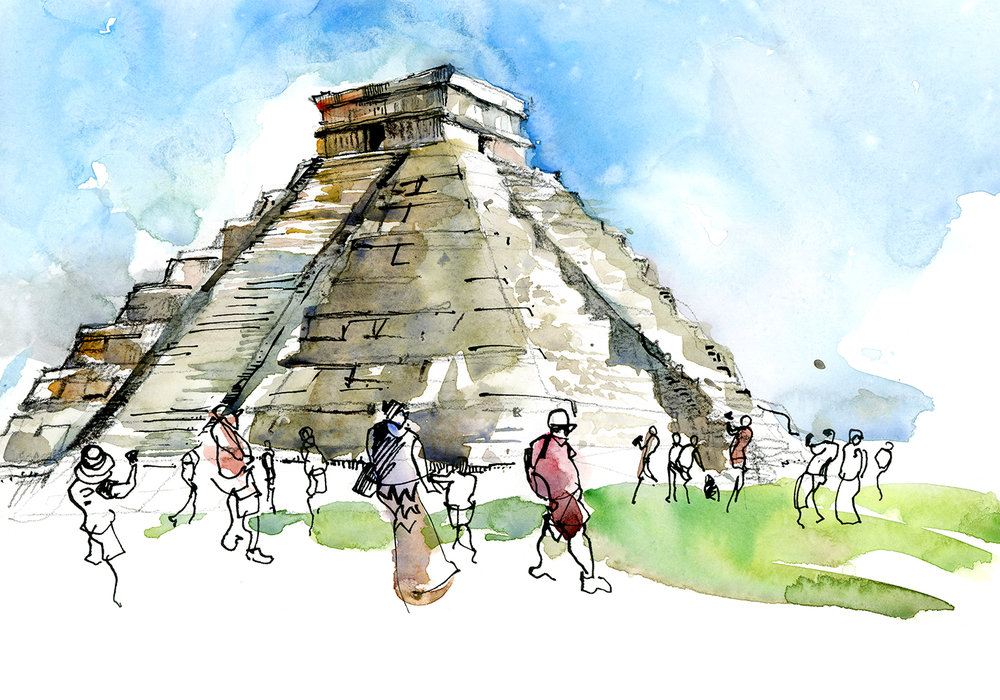 CoCo Artist Suhita S. depicts the Mayan ancient site Chichenitza in a watercolor.