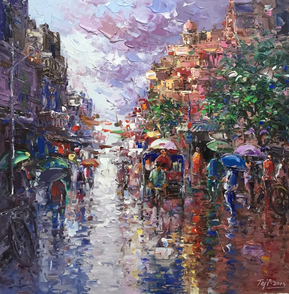CoCo Artist Teji K. captures a Bombay street scene with textured palette knife strokes in acrylics.